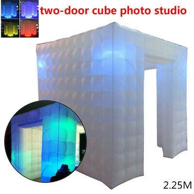 White Inflatable Cube Photo Booth Air Tent Portable Photobooth with LED Light US