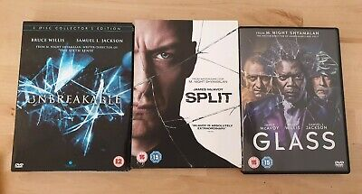 Unbreakable Split & Glass 3 x DVD Bruce Willis James McAvoy M Night Shyamalan