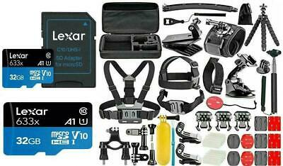 GoPro HERO 6 Black Silver White Deluxe Accessories Kit High Speed 32GB Micro SD