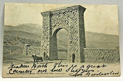 Vtg Postcard The Arch Northern Entrance Yellowstone Park c.1901-1907 Horse Buggy