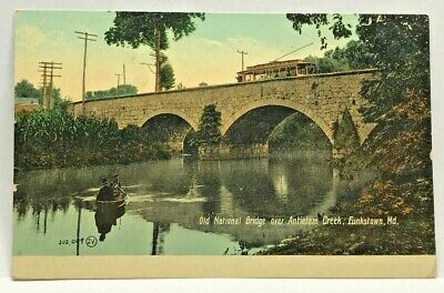Vtg Postcard Funkstown Maryland c.1907-1915 Old National Bridge Antietam Creek