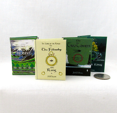 1:6 Scale LORD OF THE RINGS Books Set 4 ILLUSTRATED Readable Books TOLKIEN