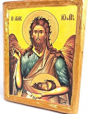 Saint John The Baptist Mount Athos Greek Orthodox Byzantine Icon on Wood