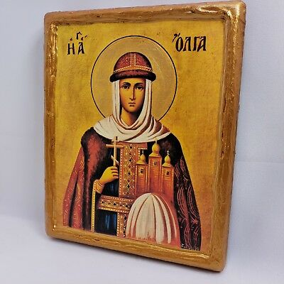 Saint Olga Agion Oros Mount Athos Rare Greek Orthodox Byzantine Icon Art on Wood