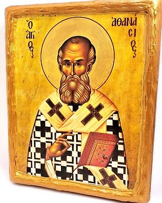 Saint Athanasios Athanasius Mount Athos Greek Orthodox Byzantine Icon on Wood