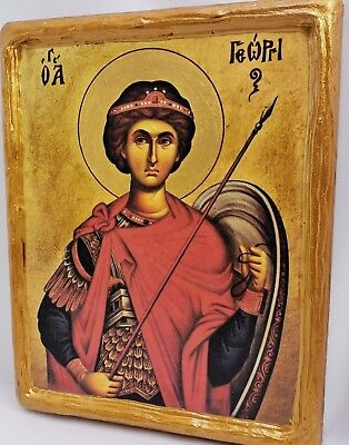 Saint George San Jorge Giorgio Mount Athos Greek Orthodox Byzantine Icon on Wood