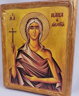 Saint Mary Maria of Egypt Rare Mount Athos Greek Orthodox Byzantine Icon on Wood
