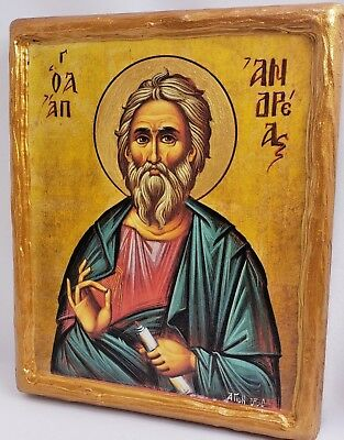Saint Andrew The Apostle Rare Mount Athos Greek Orthodox Byzantine Icon on Wood
