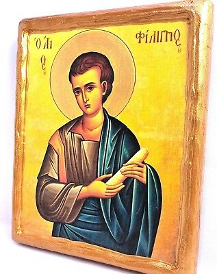 Saint Philips The Apostle Rare Mount Athos Greek Orthodox Byzantine Icon on Wood