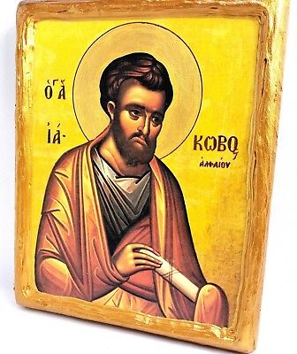 Saint Jacob Iakovos Alphaeus Mount Athos Greek Orthodox Byzantine Icon on Wood
