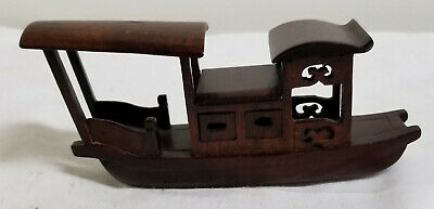 Small Antique Vintage Chinese Carved Hardwood Riverboat Model Mahogany Rosewood