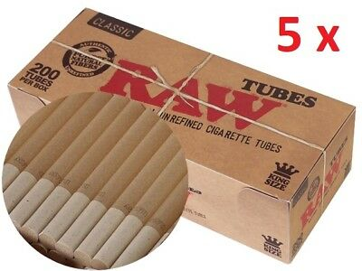 5 packs RAW tubes 200 unrefined classic KINGSIZE cigarettes empty tubes ORIGINAL