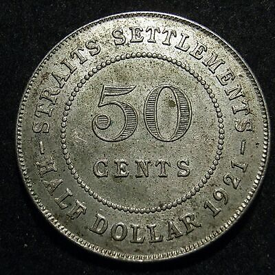 Straits Settlements 1921 50 cent - EF - full crown and diamond, 8 pearls -