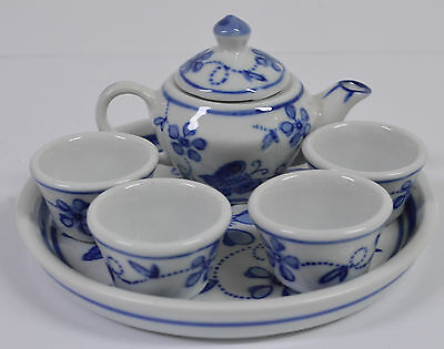 Floral Blue And White Miniature China Tea Set