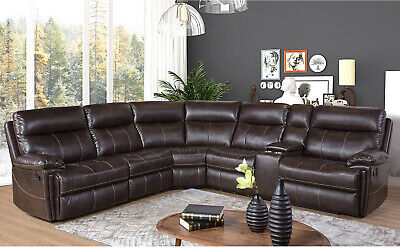 Terrific Abbyson Faux Leather Reclining Sectional Sofa Home Theatre Alphanode Cool Chair Designs And Ideas Alphanodeonline