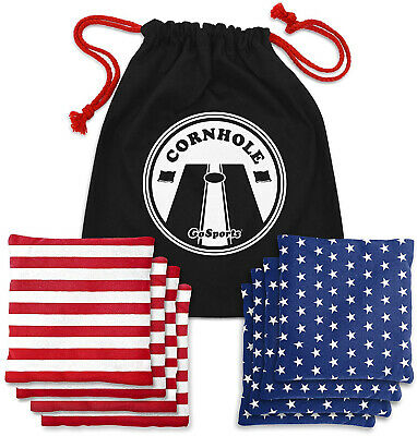 Official Regulation Cornhole Bean Bags Set 8 All Weather RED/Blue & American