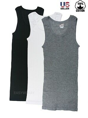 Lot 2 to 6 Mens 100% Cotton Tank Top A-Shirt Wife Beater Undershirt Ribbed Pack