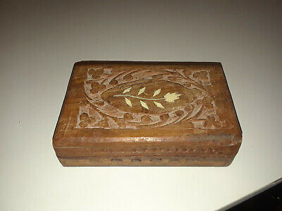 Antique hand carved, decorative inlay box