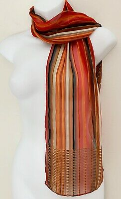 Vintage BAAR & BEARDS Womens Silk Scarf Brown White Red Orange Black Gold Stripe
