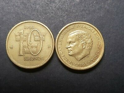 Sweden 10 kronor coin 1991