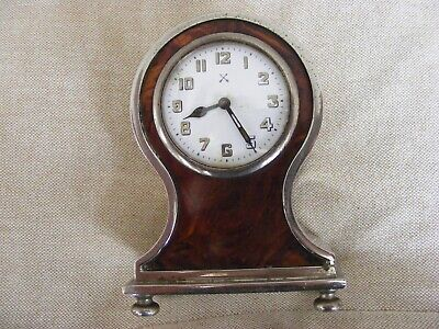 BEAUTIFUL FRENCH BALOON DESK/MANTLE CLOCK 1920s, BRASS/STEEL SHELL FRONT WORKING