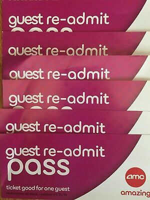 (6) AMC Theatres Re-admit Pass Movie Tickets.No Surcharges 3D/IMAX/Dolby Theater
