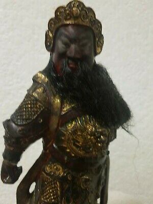 "11"" Antique Old Chinese Wood lacquerware Guan Gong Yu Warrior God Statue"