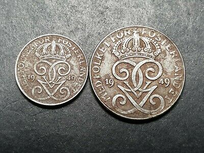 Sweden Iron 1 and 2 ore coins 1949