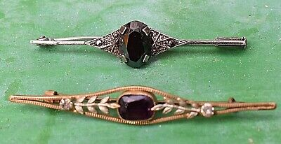 Lot Of 2 Antique Brooch Amethyst Marcasite Widow Mourning  Black Stone Hat Pin