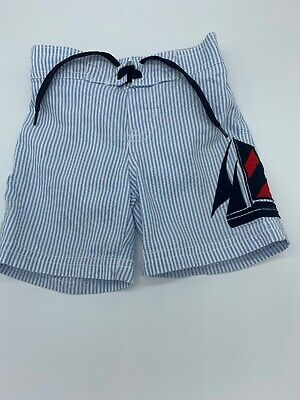 Janie And Jack blue And white Sailboat Swim Trunks, Sz 6-12 Months