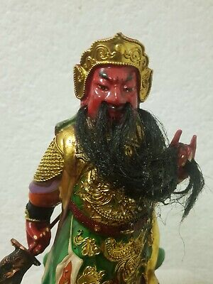 "10.5"" Antique Old Chinese Wood lacquerware Guan Gong Yu Warrior God Statue"