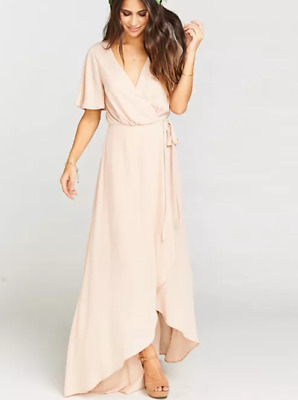 2912ce2286593 Show Me Your Mumu Sophia Flutter Sleeve Wrap Maxi Dress S - Dusty Blush Pink
