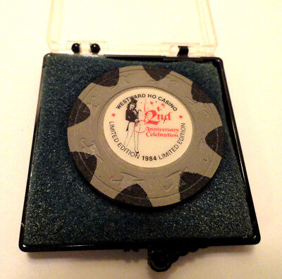 WESTWARD HO CASINO 2nd ANNIVERSARY CHIP 1984 LAS VEGAS WITH CASE