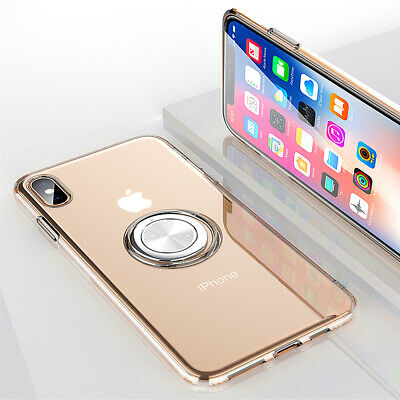 For iPhone XR Case XS Max 8 7 6s Plus Clear Magnetic Ring Holder TPU Stand Cover