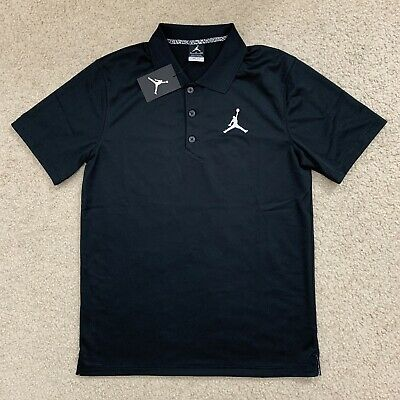 Nike Air Jordan Polo Golf Shirt Mens Size S Small Black White Dri Fit