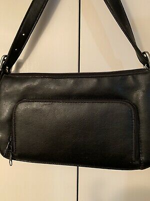 Beautiful Koltov Black Leather Multi Compartment Shoulder Purse Handbag