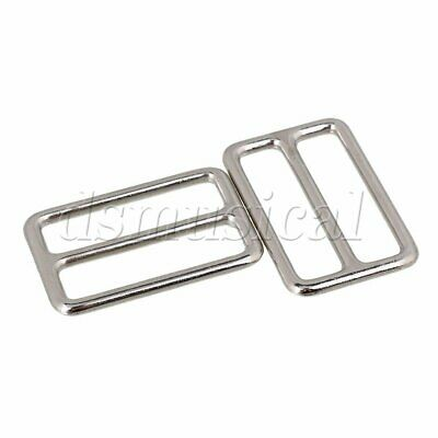 10x Rectangle Metal Sliding Bar Tri-Glides Wire-Formed Buckle For Backpack Strap
