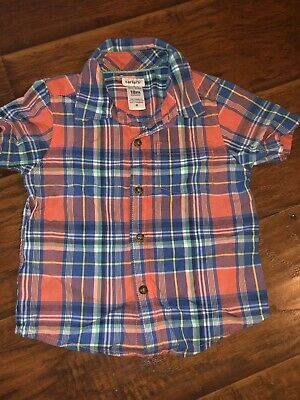 Carters Baby Boy Dressy Button Down Red Blue Plaid Flannel Sz 18 Months