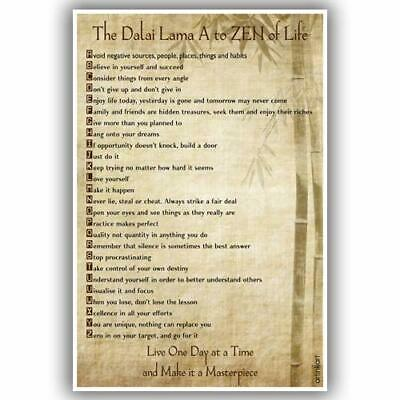 DALAI LAMA A TO ZEN of Life Teachings POSTER 61x91cm NEW live one day at a time