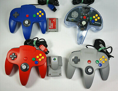 Nintendo 64 N64 OEM Controller Original Grey Red Blue & SharkPad Pro 64 Tested