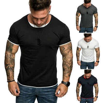 UK Summer Mens Slim Fit Short Sleeve Crew Neck Casual T-Shirt Tops Muscle Tee