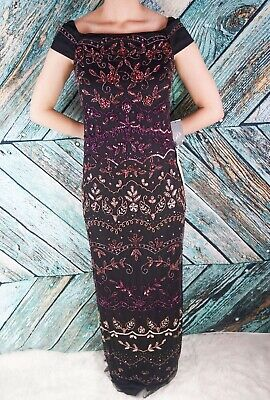 Adrianna Papell Multi Color Long Sequin Beaded Dress