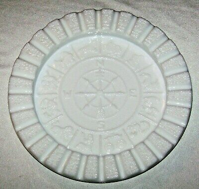 Vintage Large Milk Glass Zodiac Astrology Ashtray by Imperial Glass
