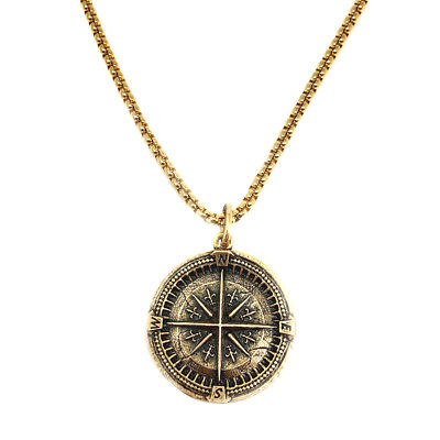 "Silver Gold Men's Large Compass Coin Pendant 20""/24"" Medieval Look Mens Necklace"