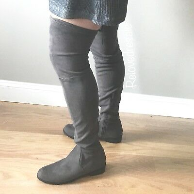 8f1291afd Catherine Malandrino Morcha over the knee gray faux suede boot 7.5 NEW tie  fall