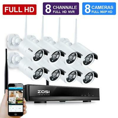 ZOSI Wireless CCTV Home Security Camera System Outdoor IP WIFI 1080P HD 8CH NVR