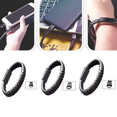 USB Cable Bracelet Phone Charger Charging Data Sync Cord Leather rope weaving