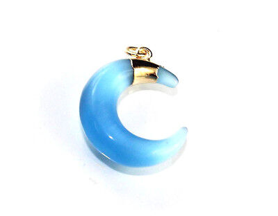 Exclusive Sale Dazzling Blue Monalisa Crescent Shape Gold Plated Pendant Dh-8234