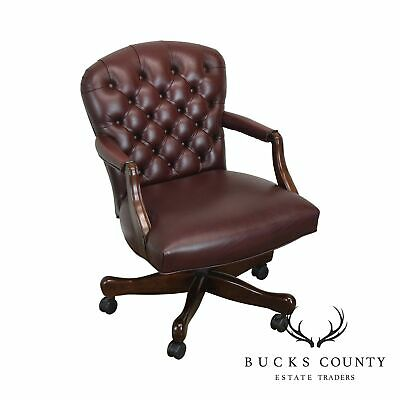 b9f91aa19d3a Oxblood Red Leather Tufted Chesterfield Style Executive Office Desk Chair  (F)