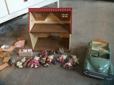 Sylvanian Families Bundle: Figures, Furniture, Car & House